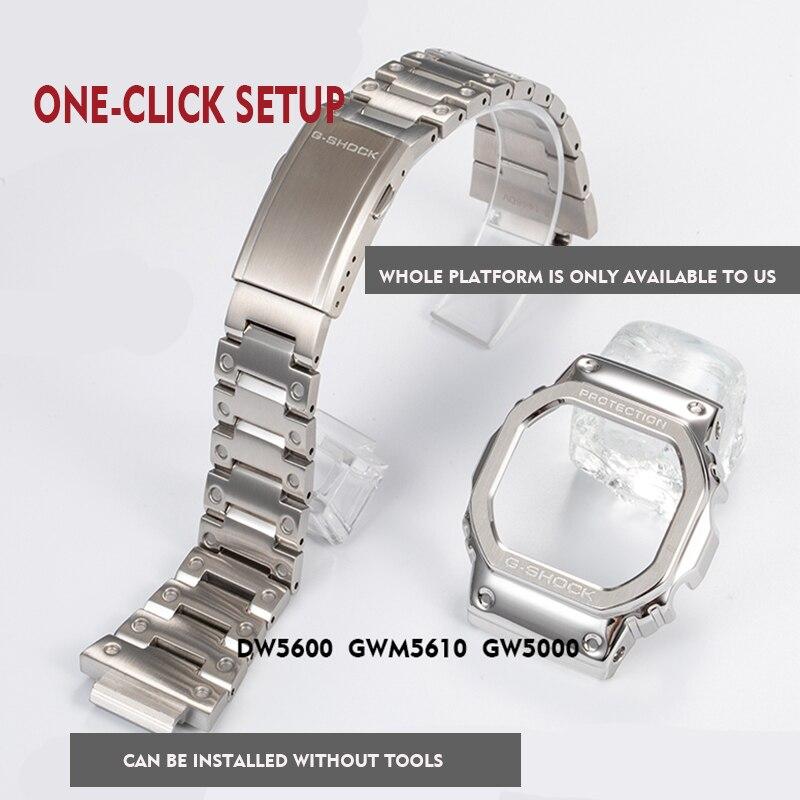 316L Нержавеющая сталь ремешок для часов ободок/Чехол DW5600 GW5000 GW M5610 металлический ремешок стальной ремень инструменты для мужчин/женщин подарок|Ремешки для часов|   | АлиЭкспресс