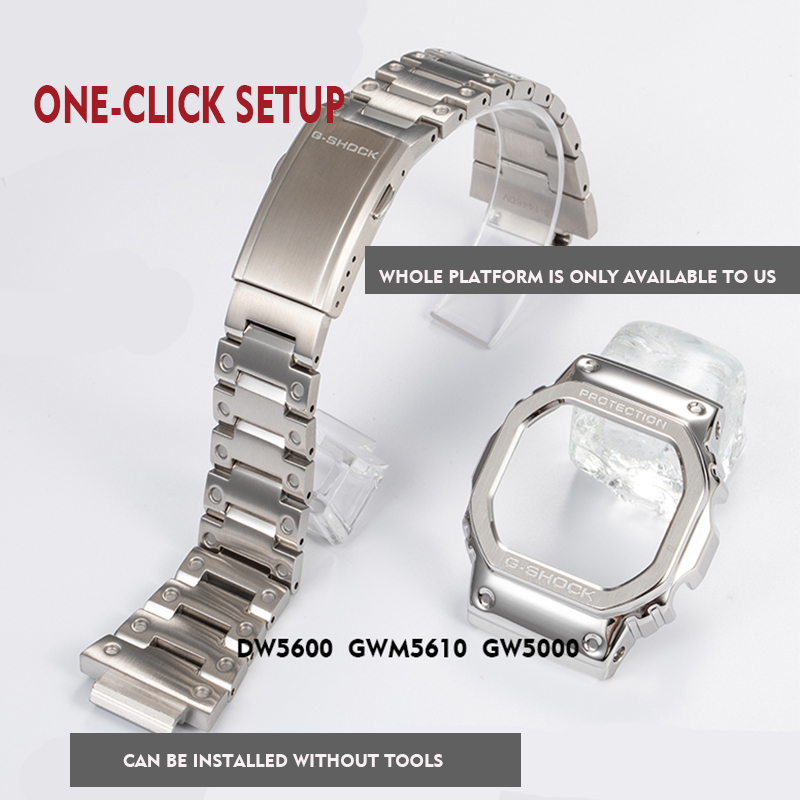 316L Stainless Steel Watchband Bezel/case DW5600 GW5000 GW-M5610 Metal Strap Steel Belt Tools For Men/women Gift