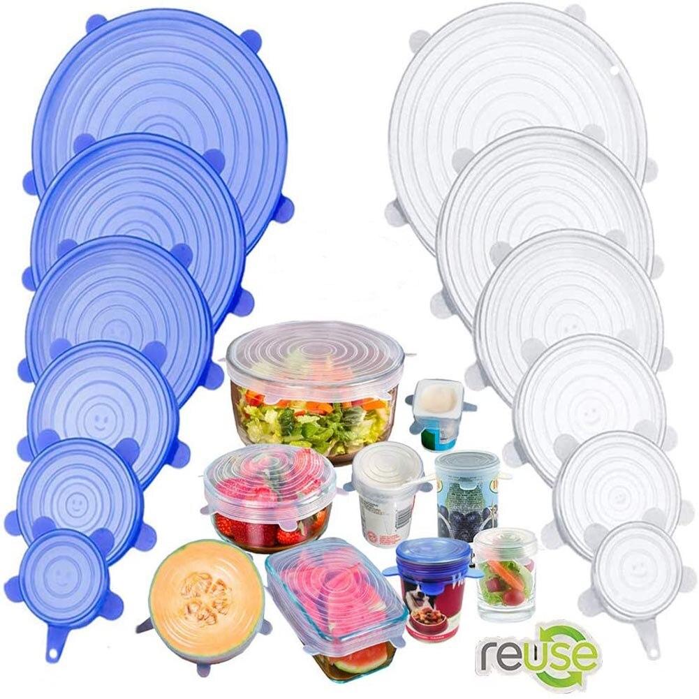 Tigelas com tampa de silicone, tampas herméticas reutilizáveis para embrulhar, tigela selado para manter alimento fresco, tampa de envoltório elástico, utensílios de cozinha