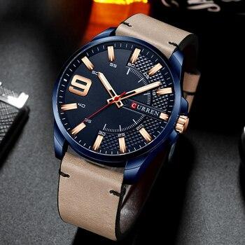 Brand Men Leather Business Watches CURREN Fashion Quartz Wristwatch Male Military Watch Men's Clock Relogio Masculino - discount item  50% OFF Men's Watches