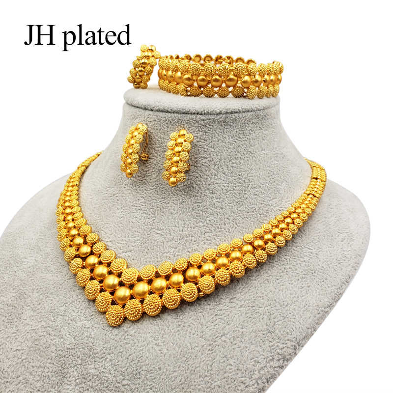 JHplated 2019 Nigeria Dubai Fashion Gold color jewelry set African wedding gifts party women Bracelet Necklace earrings ring set