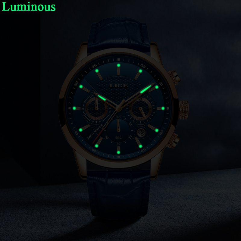 LIGE New Men Watch Top Brand Blue Leather Chronograph Waterproof Sport Automatic Date Quartz Watches For LIGE New Men Watch Top Brand Blue Leather Chronograph Waterproof Sport Automatic Date Quartz Watches For Mens Relogio Masculino