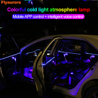 New Sound Active Neon Wire Strip Light RGB LED Car Interior Light Multicolor Bluetooth Phone Control Atmosphere lamps Universal