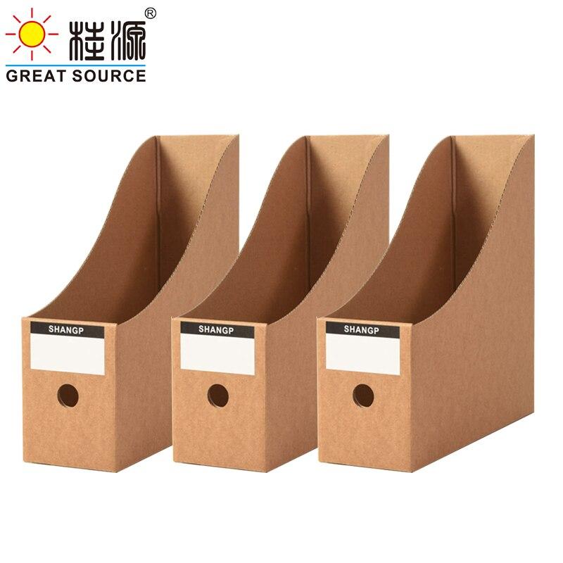 Foldaway File Holder Kraft Newspaper Box Desk Top Organizer Magazine Bookend Corrugated File Holder Office Stationery (3PCS)