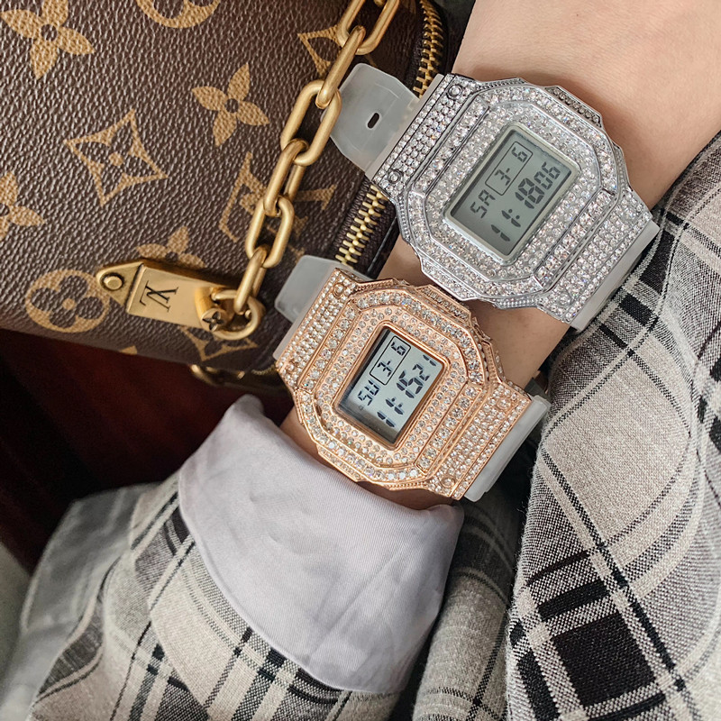 Transparent White Rubber Watches for Women Men Unisex Square Watches Shinning Crystals Digital Wrist watch Water Proof Relojes