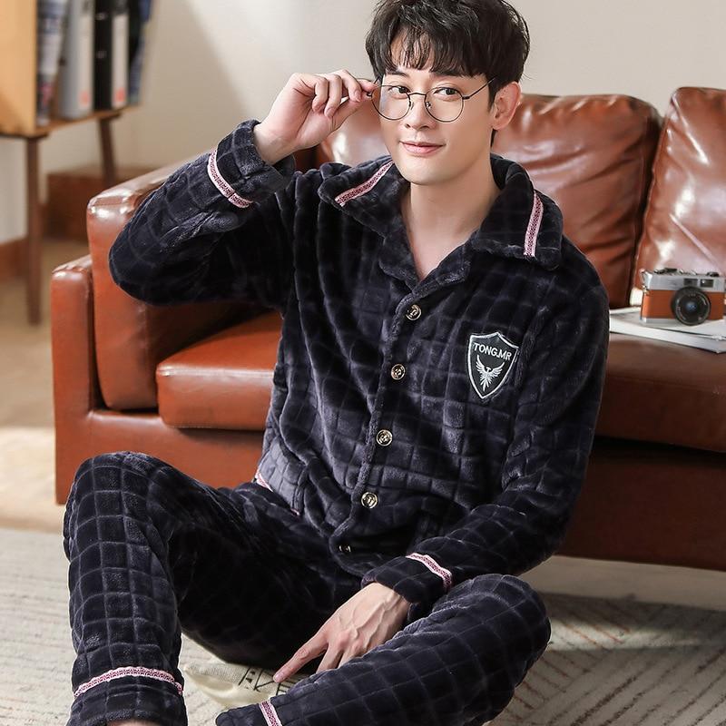 Winter New Men Pyjamas Flannel Loose Bathrobe Coral Sleepwear Bathrobe Lounge Negligee Pajamas Casual Home Clothing Пижама