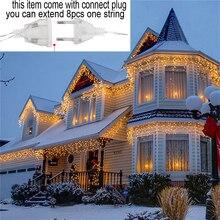 110 В 220 в 5 м 96 Светодиодный Рождественская гирлянда светодиодный светильник-Гирлянда для занавесок в виде сосульки для помещений вечерние светильники для сада и сцены наружный декоративный светильник