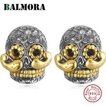 BALMORA 100% ريال 925 فضة الجمجمة و طويل اللحية وأقراط للرجال arجيجا أوم هدية يجري قديم نمط مجوهرات الأزياء