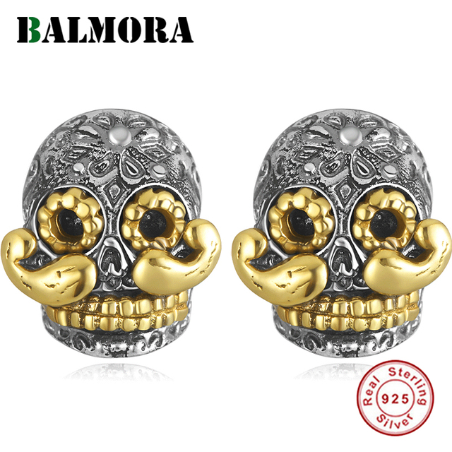 BALMORA 100% Real 925 Sterling Silver Skull & Long Beard Stud Earrings for Men argent homme Gift Being Old Style Fashion Jewelry