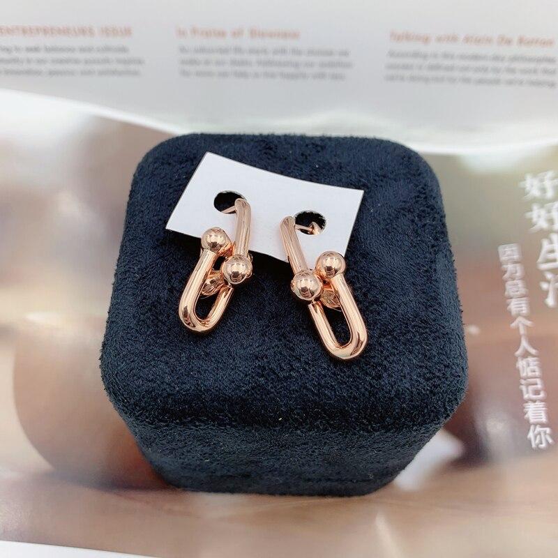 SHINETUNG Original LOGO 100% S925 boucles d'oreilles en argent Sterling couleur or Rose u-forme boucles d'oreilles pour femmes cadeau Fine bijoux de mode