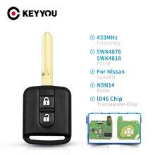 KEYYOU – clé télécommande à 2 boutons, 433Mhz, transpondeur ID46, pour voiture Nissan Elgrand Qashqai Navara Micra Note NV200, 5WK4876 5WK4818