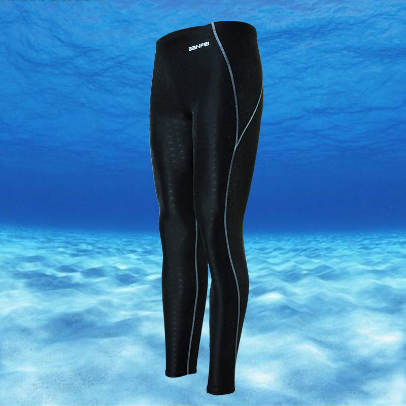 Banfi Waterproof Quick-Drying Sun-resistant Faux Sharkskin Long Legs Competition Men Long Swimming Trunks Capri Women's Diving W