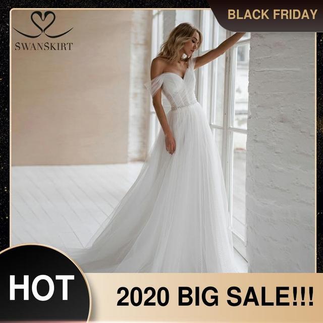 Swanskirt חוף קריסטל חתונה שמלת 2020 כבוי כתף אשליה אונליין מתוקה נסיכת הכלה שמלת Vestido דה novia NR12