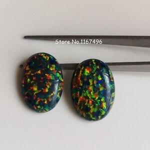 Image 4 - 20 pz/lotto 13x18mm op32 sintetico Nero Opale di Fuoco Ovale Cabochon Opal Pietra per Gioielli FAI DA TE