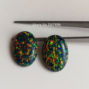 Image 4 - 20pcs/lot 13x18mm op32  synthetic Black Fire Opal Oval Cabochon Opal Stone for DIY Jewelry