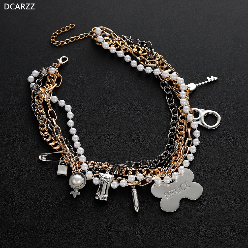 Birds Of Prey Necklace Harley Quinn Layered Chain Choker Key Lock Padlock Charms Ebay
