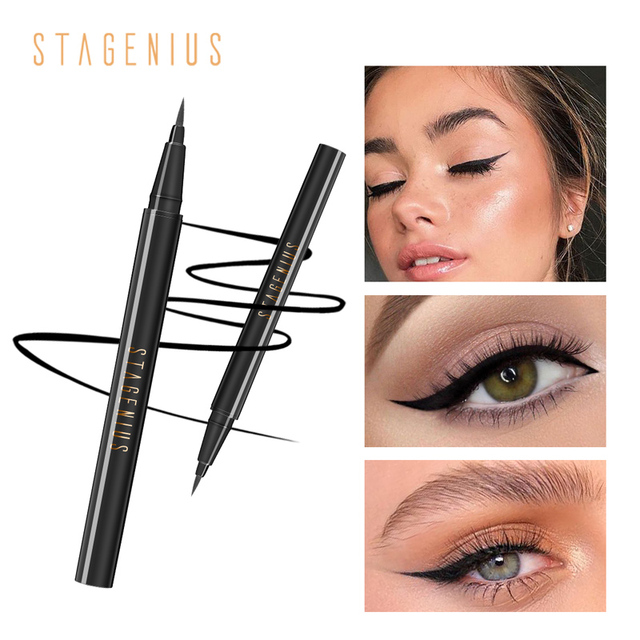 STAGENIUS 1pcs Eyeliner Pencil Waterproof Black Natural Super Long Lasting Makeup Liquid Eye Liner Pen