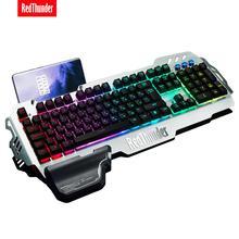 Redthunder k900 rgb wired gaming teclado sensação mecânica 25 teclas anti ghosting ergonomia para pc russo espanhol francês