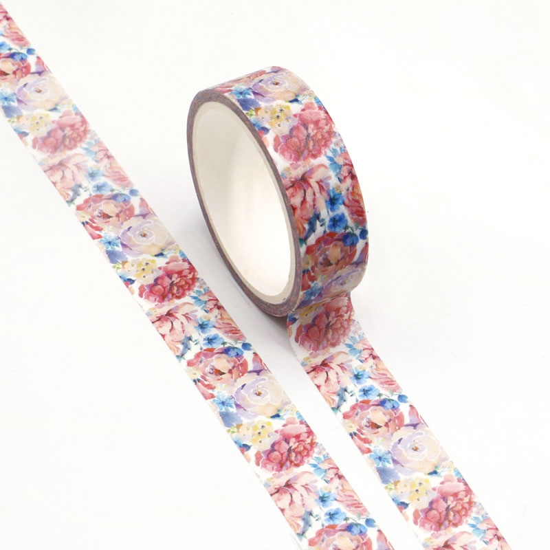 Wholesale 10pcs/lot Decorative Watercolor Flower Washi Tapes DIY Scrapbooking Planner Adhesive Masking Tapes Kawaii Stationery