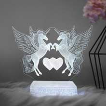 7 Colors Led Unicorn LED Night Lights USB Rechargeable Battery Cartoon Touch Switch Table Lamp 3d Night Light