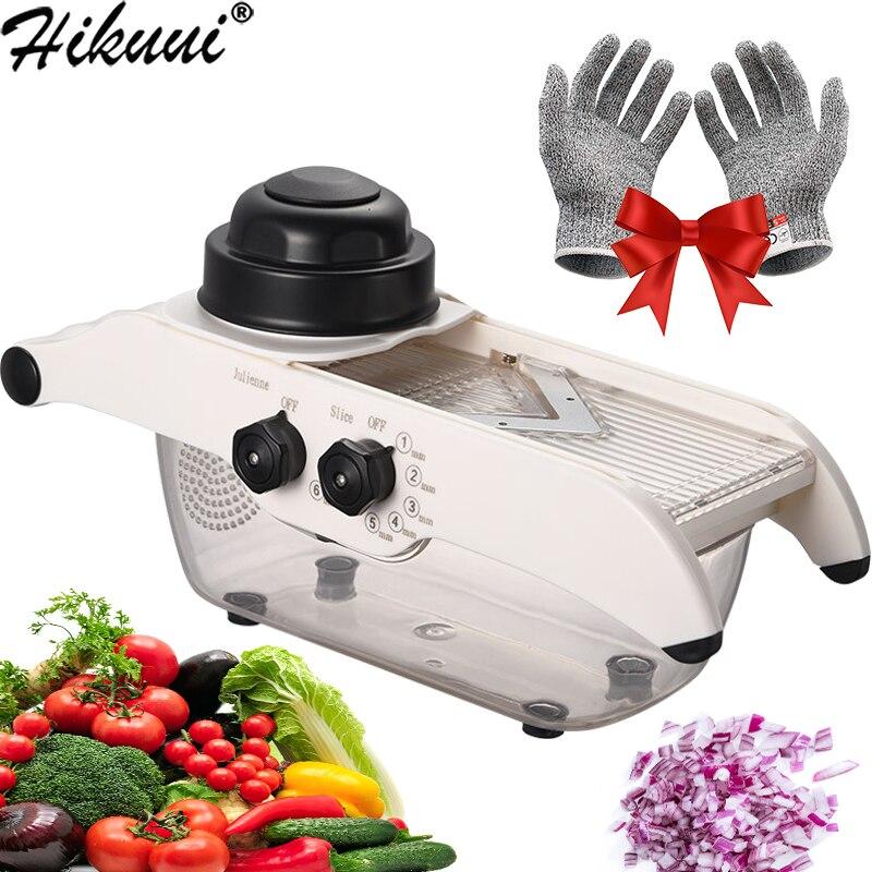 Manual mandoline vegetal chopper cortador ajustável ralador de alimentos aço inoxidável cebola batata shredder cozinha ferramentas vegetais|Trituradoras e cortadoras|   -