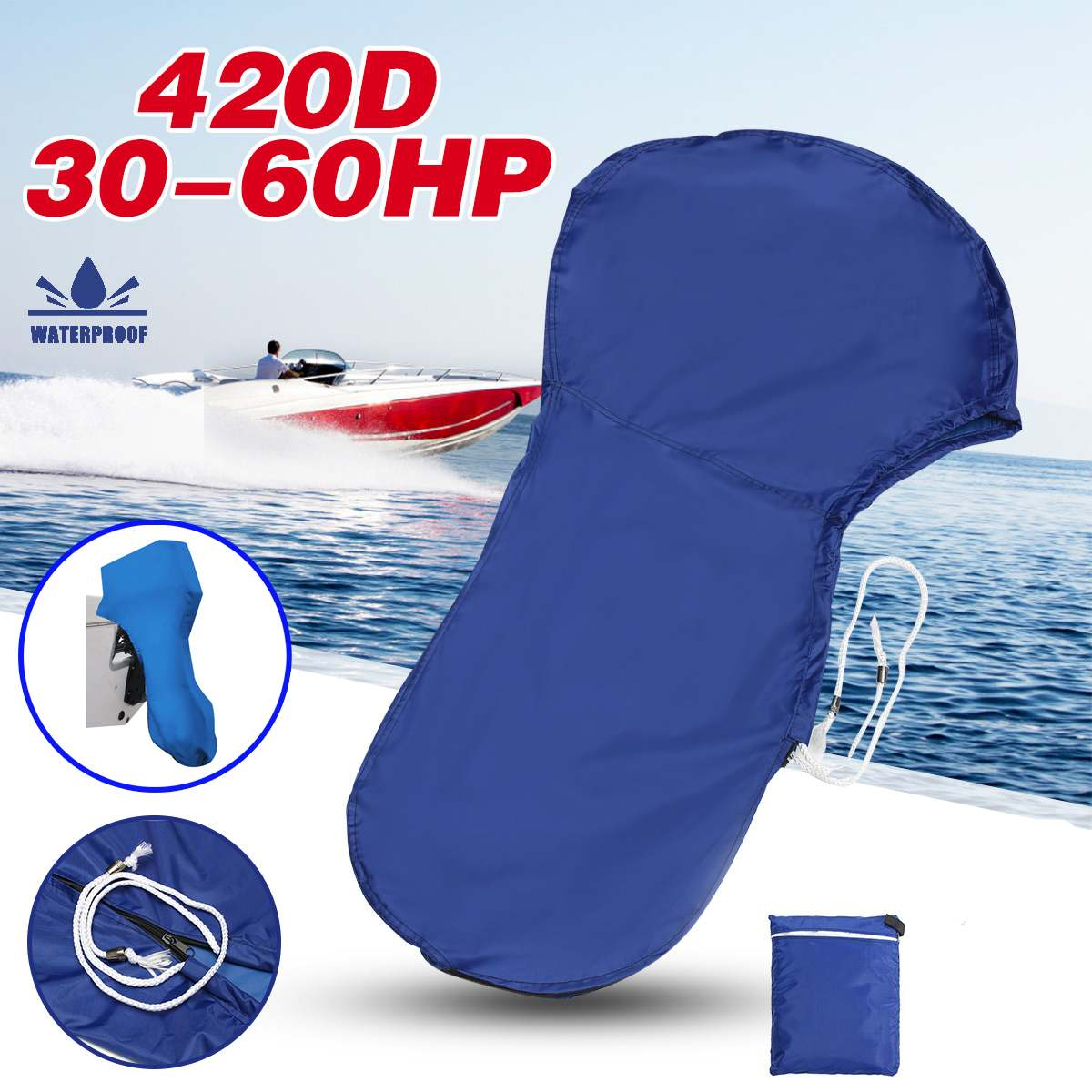 420D 30-60HP Boat Full Outboard Motor Engine Cover For 30-60HP Motor Waterproof