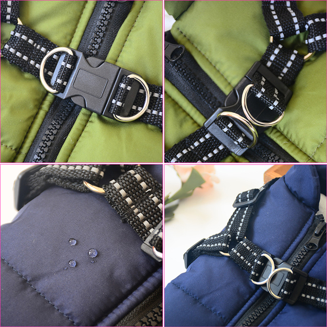 Large Pet Dog Jacket With Harness Winter Warm Dog Clothes For Labrador Waterproof Big Dog Coat Chihuahua French Bulldog Outfits- 4