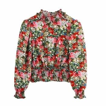 New 2020 Women Sweet Flower Printing Casual Smock Blouse Lady Puff Sleeve Hem Elastic Shirts Chic Back Split Blusas Tops LS6568