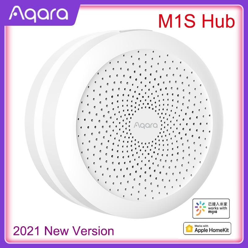 2021 aqara m1s hub gateway com rgb led night light zigbee 3.0 siri aplicativo de voz controle remoto casa inteligente trabalho mijia homekit