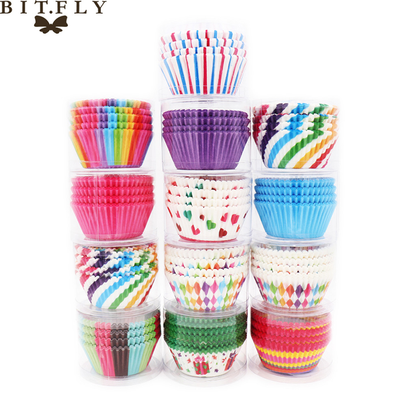 BITFLY 100Pcs Rainbow Cupcake Paper Liners Muffin Cases Cup Cake Topper Baking Tray Kitchen Accessories Pastry Decoration Tools(China)