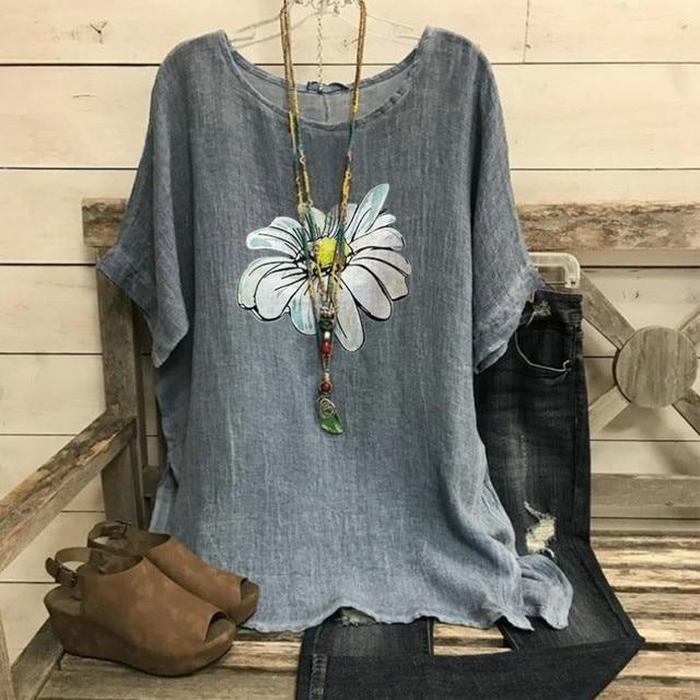 Cotton Women Shirt Harajuku Leisure O Neck Tops Women Vintage Flower Print Shirts New Loose Plus Size Blouses S-5XL Blusas Mujer 3
