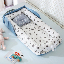 New 85*45cm Portable Baby Nest Bed Crib Mat for Boys Girls Travel Bed Infant Cotton Pillow Cushion Newborn Baby Cribs