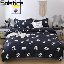 Solstice Cartoon Black Printing Panda Children Boy/kids Bedding Set Duvet Cover Bed Sheet Pillowcase Bed Cover Linens Bedclothes