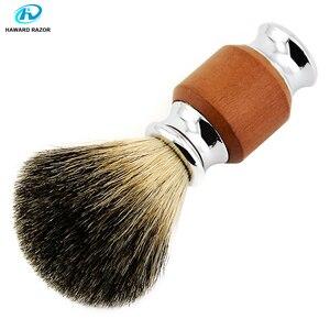 Image 5 - Haward escova de barbear para homens, badger puro, madeira e zinco, alça de liga, espuma, escova de barbear profissional escova