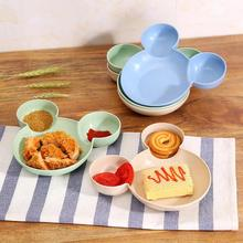 Kid Cartoon Bowl Dishes Set Mouse Lunch Box Children Infant Baby Rice Feeding Wheat Fibre Snack Plate Tableware