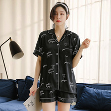 Pajamas Female Summer Ice Silk Short sleeved Suit Fashion Letter Printing Thin Silk Home Clothes Sets Summer Wear Pijama Verano
