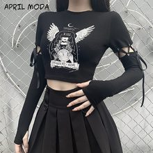 2020 Punk Dark Gothic Women T-shirts Angel Girls Print Women's Ins Fashion All-match Lace-up Stitching Long-sleeved Top Women's