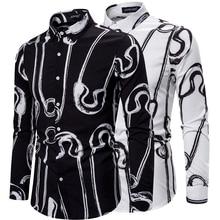 Fashion Men's Printed Shirts Black White Loose Comfortable