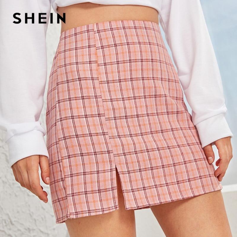 SHEIN Plaid Side Slit Bodycon Mini Skirt Women Bottoms 2019 Autumn Streetwear Casual A Line Basic Ladies Sheath Skirts 1