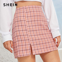 SHEIN Plaid Side Slit Bodycon Mini Rok Vrouwen Bottoms 2019 Herfst Streetwear Casual EEN Lijn Basic Dames Schede Rokken(China)