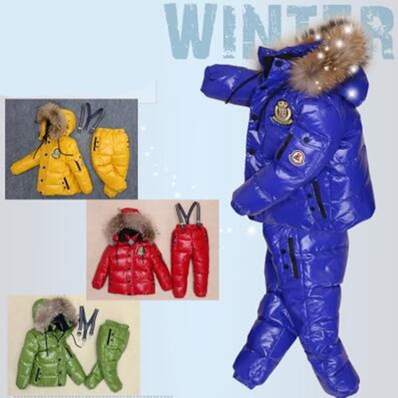 Распродажа, новый детский костюм с пуховиком теплое зимнее пальто для маленьких мальчиков, штаны комплект из 2 предметов, комплект детской одежды с натуральным мехом От 2 до 8 лет