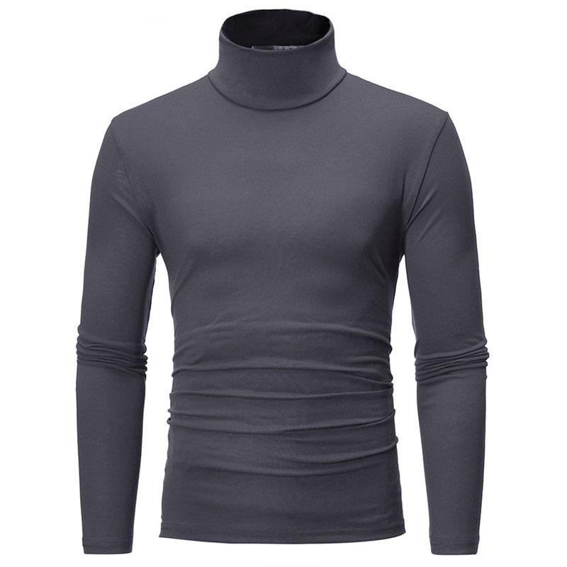turtleneck for men Solid colour slim elastic thin pullover men Spring Autumn turtleneck men knitting brand sweater men 3