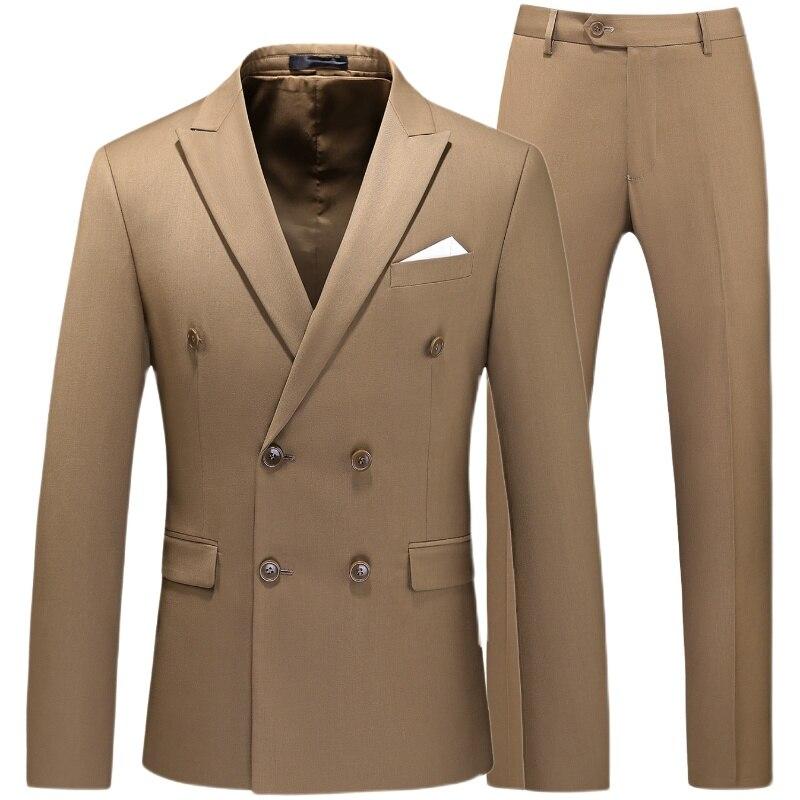 Duplo breasted smoking terno masculino trabalho de negócios roupas formais do casamento homem conjunto terno jaqueta pant regular ajuste branco cáqui preto rosa