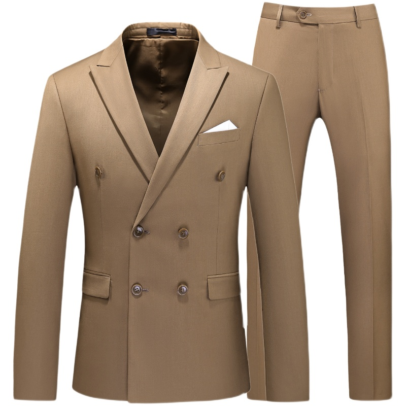 Double Breasted Tuxedo Suit Men Business Work Wedding Formal Sets Solid Suit Jacket with Pant Slim Fit Korean Casual Clothing
