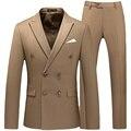Zweireiher Smoking Anzug Männer Business Arbeit Hochzeit Formale Sets Solide Anzug Jacke mit Hose Slim Fit Koreanische Beiläufige Kleidung