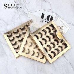 SHIDISHANGPIN 5/10 pairs Multipack False Eyelashes 3D Mink Eyelashes Natural Dramatic Volume 3D Lash Extension Mink Eyelashes
