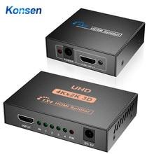 Konsen 4k hdmi-divisor compatível completo hd 1080p vídeo hdmi-switcher compatível 1x2 1x4 divisão 1 em 2 para fora para hdtv dvd