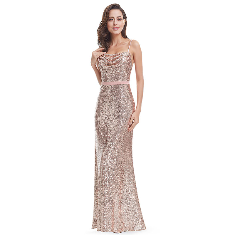 2019 Evening Dress Long Sexy Backless Spaghetti Strap Sheath Formal Dress Shine And Sparkle Sequined Dress Party With Sash