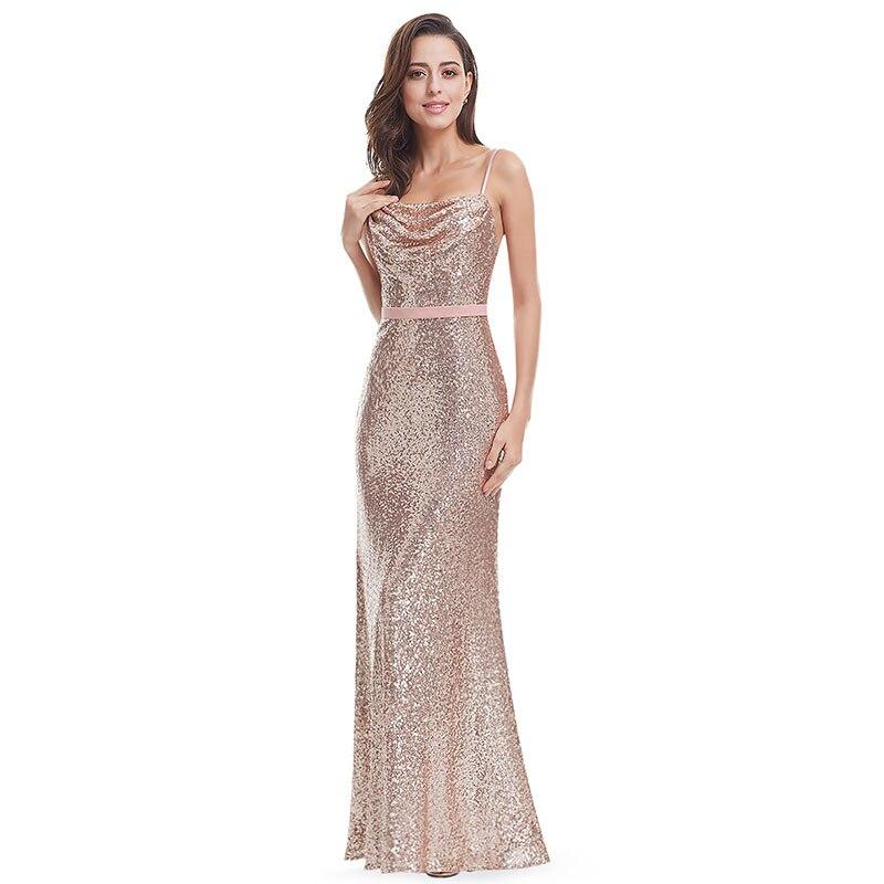 2019 robe de soirée longue Sexy dos nu Spaghetti sangle gaine robe formelle brillance et étincelle robe à paillettes fête avec ceinture