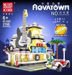 Compatible Lepining LED Bricks City Street Series MOC Creator Expert Guitar Shop Model Building Blocks Toys For Children Gifts